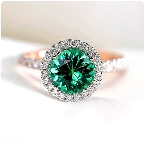 Two Tone 925 Silver stamped Women's Emerald Ring